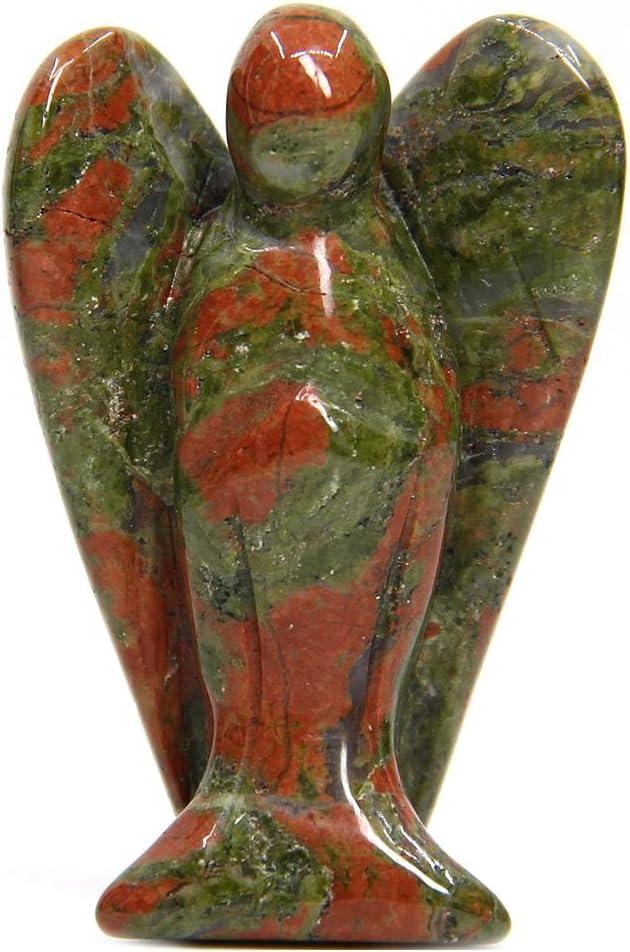 Estatua de gema con forma de ángel, 5 cm, Unakita, Unakite, Unakite