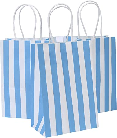 Paper Party Bags Pack of 12 BLUE Candy Stripe