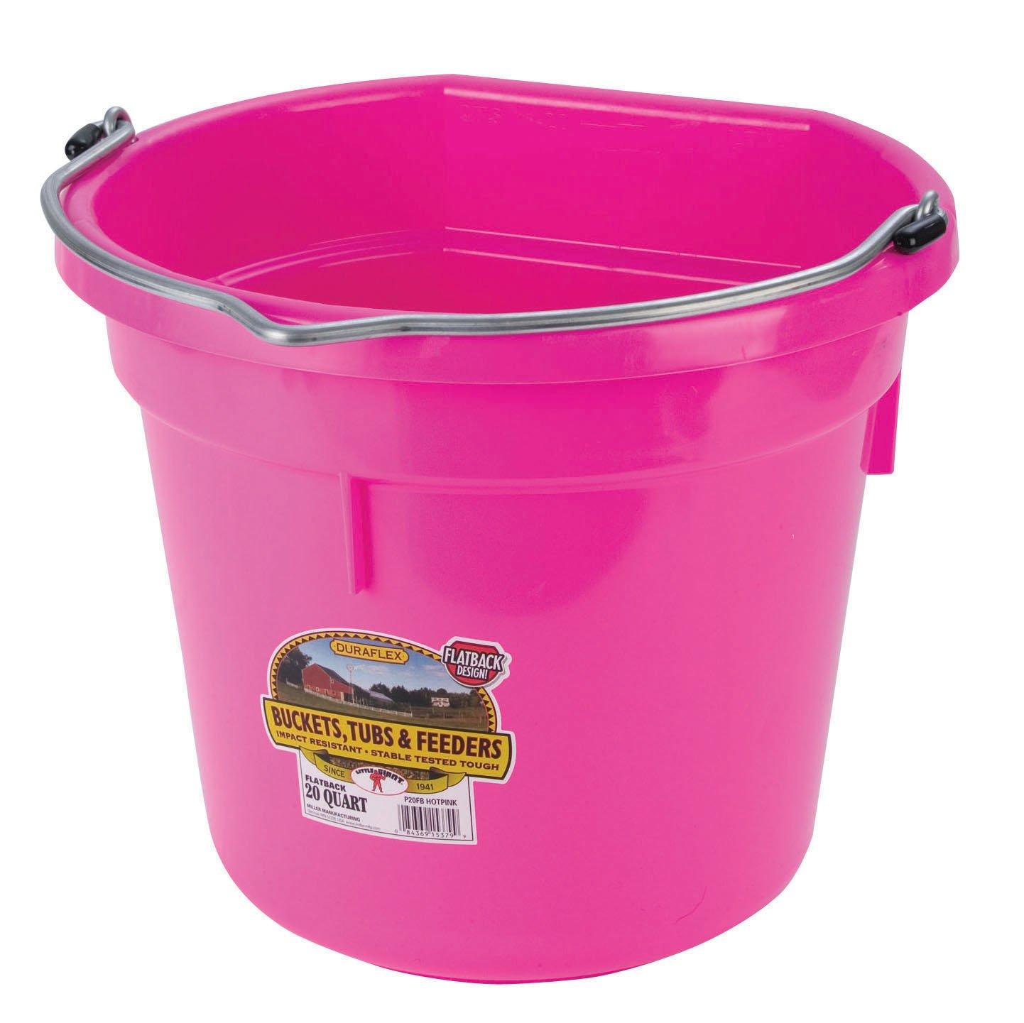 Miller Manufacturing P20FBHOTPINK Plastic Flat Back Bucket Horses, 20-Quart