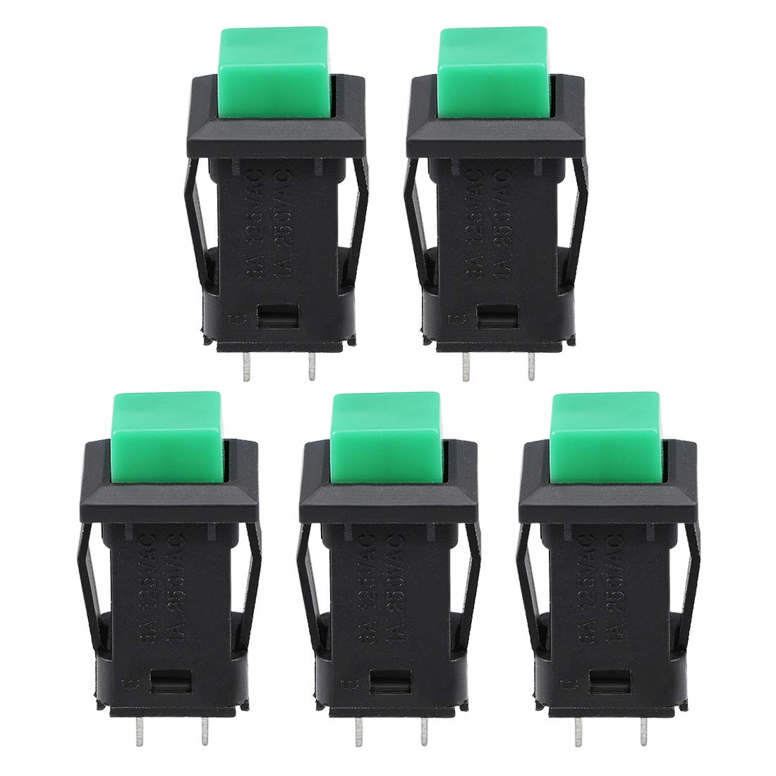 uxcell Latching Plastic Push Button Switch 2 Screw Terminals Round Head Green 5pcs a18062200ux0413