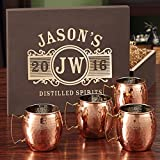 Marquee Copper Mug Set with Custom Wooden Gift Box (Customizable Product)