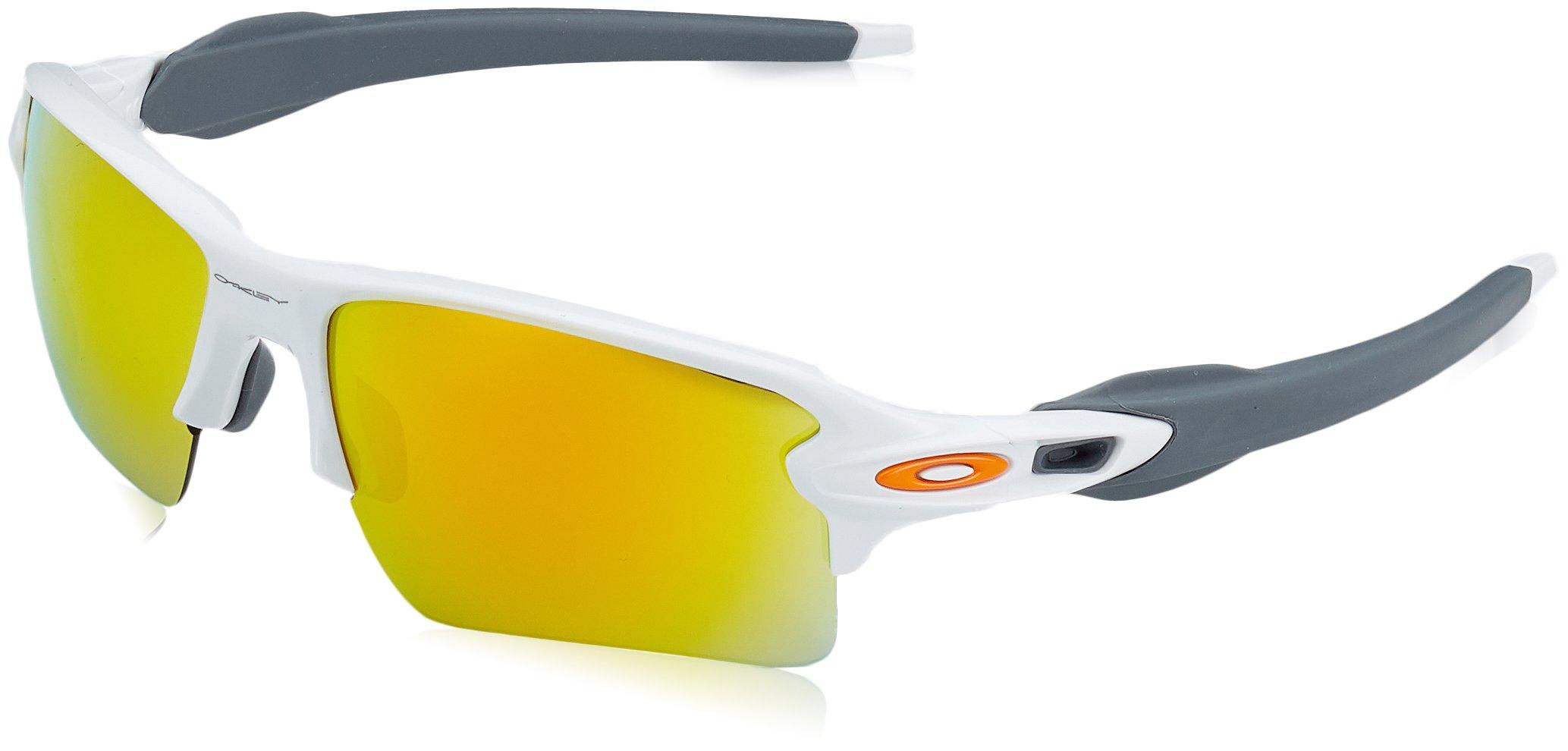 Oakley Men's Flak 2.0 XL OO9188-19 Non-Polarized Iridium Rectangular Sunglasses, Polished White, 59 mm
