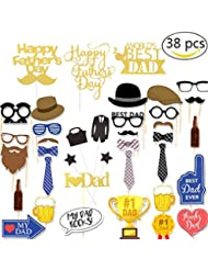 zsnice 38pcs Photo Booth Props and Cake Topper Father's Day Decorations, Glitter Golden Cake Toppers Happy Father's Day