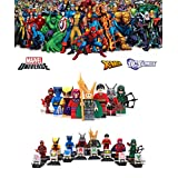 ABG toys 8 Minifigures MARVEL DC Comics Avengers X-Men Super Heroes Loki, Green Arrow, Wolverine, Ant Man, Magneto, The Beast, Daredevil and Plastic Man Minifigure Series Building Blocks Sets Toys