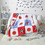 Decohome Balls Quilt Basketball Baseball Printed Coverlet Quilt Bedspread Throw Blanket for Kid's Girl & Boys Bed Gift 100% Natural Cotton 43.3'' X 51.2''
