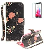 LG K10 Strap Case with Free Screen Protector,Funyye Colourful Print PU Leather Wallet Stand Full Body Protection Case Cover Skin - Unique Flower