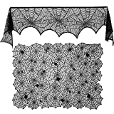 Blulu 2 Pieces Halloween Lace Spiderweb Fireplace Mantle Rectangular Spider Web Tablecloth for Party Supplies and Scary Movie Nights, 96 by 18 Inch and 72 by 54 Inch