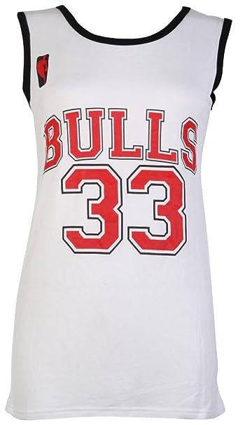 Camiseta sin mangas para mujer - Chicago Bulls 33 - Tallas 8-14 multicolor blanco