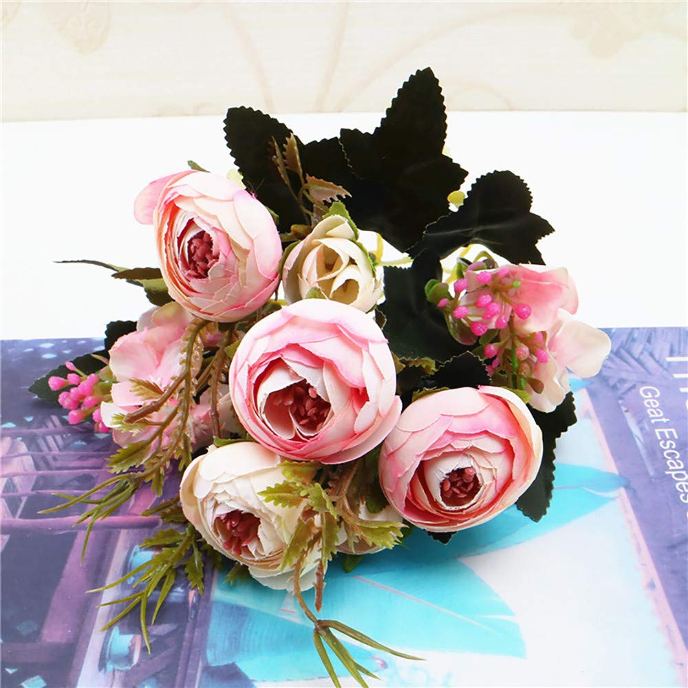 1 Bouquet Vintage Artificial Peony Silk Flowers Bouquet for Decoration Wisteria Artificial Flowers Bridesmaid Bouquet