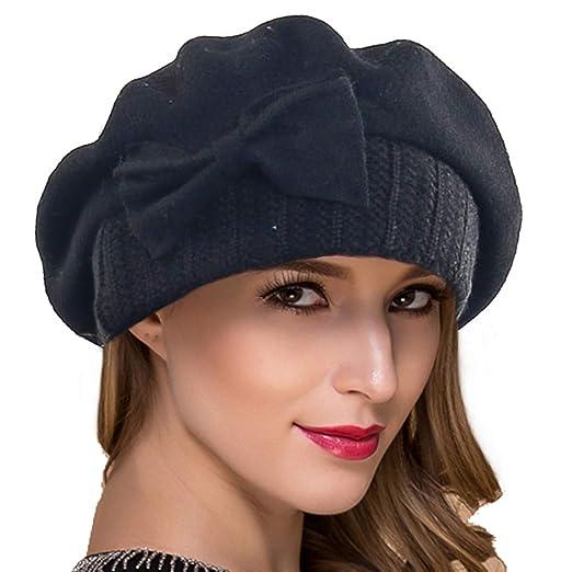 Ruphedy Women French Beret Knit Wool Beret Beanie Winter Dress Hats Hy022  (Black) 90aec49a2eba