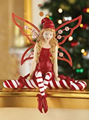 Collections Etc Candy Cane Christmas Angel Fairy Figurine
