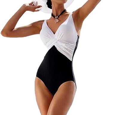 f9128184b9 GWELL Femme Maillot de Bain Une Pièce Bikini Grande Taille Amincissant  Contraste Vintage, Blanc,