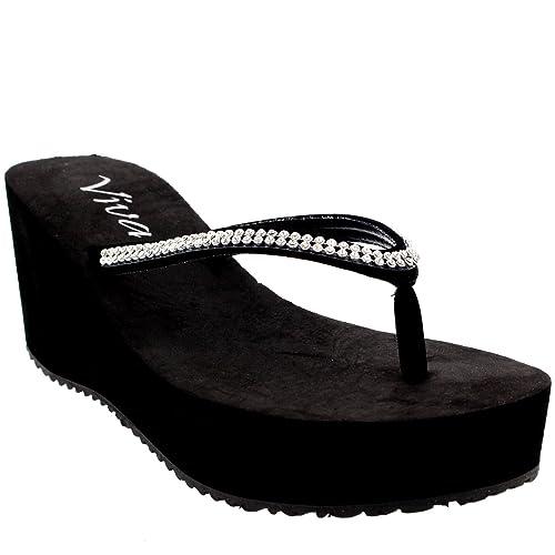 Damen Zehenriemen Diamant Flip Flop Plattform Sommer Keilabsatz Sandale   CD0196