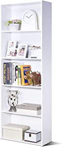 Tangkula 5-Shelf Bookcase, 23.5''L x 9.5''W x 67''H, Multi-Functional Wood Storage Display Open Bookshelf for Home Office (White)