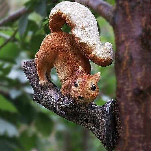 zenggp Ardilla Jardín Ornamento Animal Figura En El árbol Estatua Patio Escultura Pintado A Mano Regalo: Amazon.es: Hogar