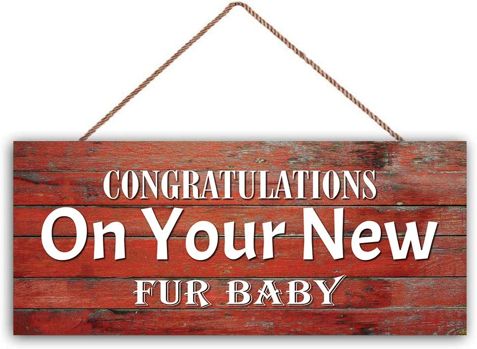Bevis554Yule Congratulations On Your New Fur Baby Sign Accessory Gift Sign/Plaque for Home Office Door Or Wall Wood