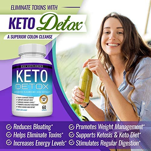 Keto Detox Pills Advanced Cleansing Extract – 1532 Mg Natural Acai Colon Cleanser Formula Using Ketosis & Ketogenic Diet, Flush Toxins & Excess Waste, for Men Women, 60 Capsules, Lux Supplement 4