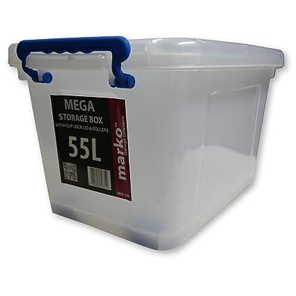 Caja de almacenamiento de plástico transparente Cajas con tapas de bloqueo Clip Almacenamiento Oficina En Casa