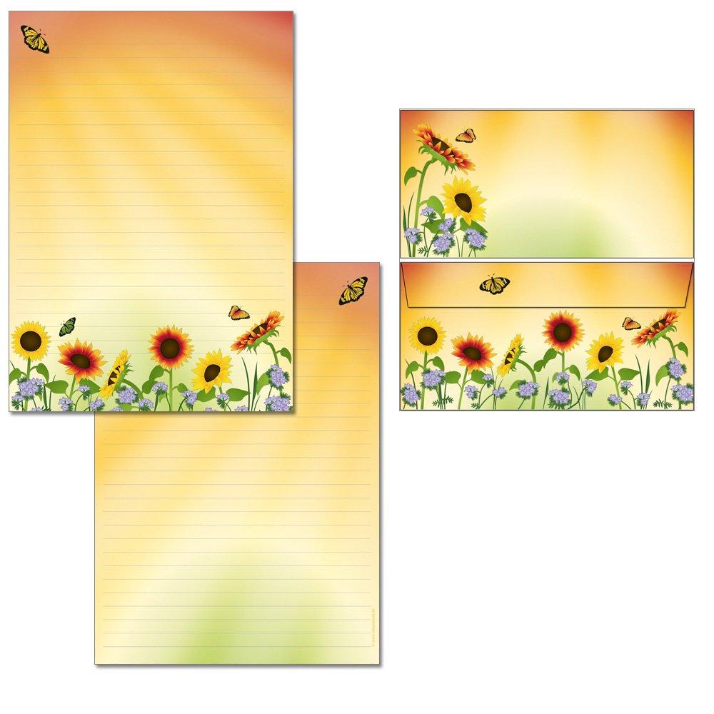 Blocco per appunti con campo di girasoli, 25 fogli, formato DIN A4, stampato su entrambi i lati, 7460 1 Briefblock + 15 Kuverts - ohne Mappe Konzept-G