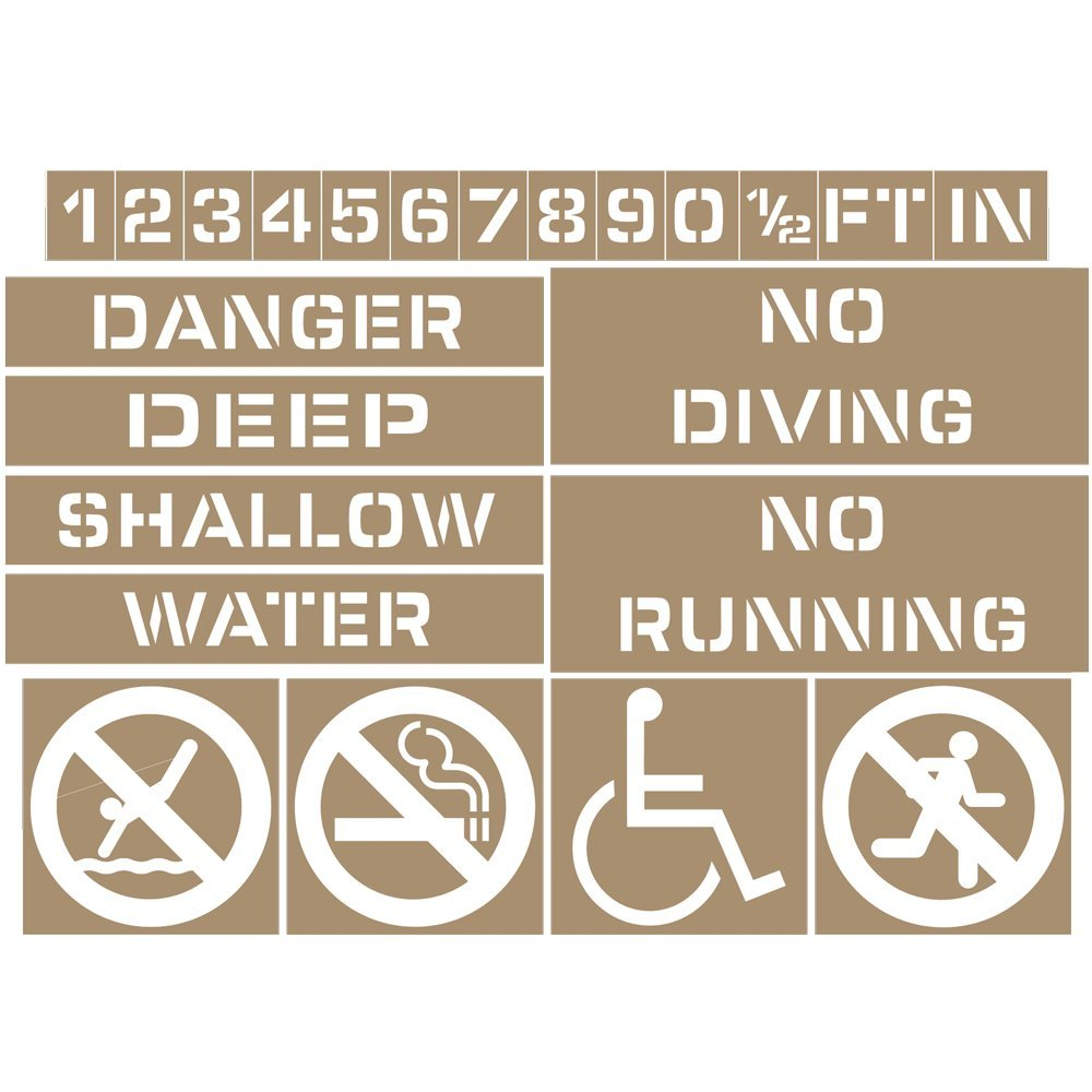 ComplianceSigns Plastic Swimming Pool / Spa Stencil Kit, 4 Inch