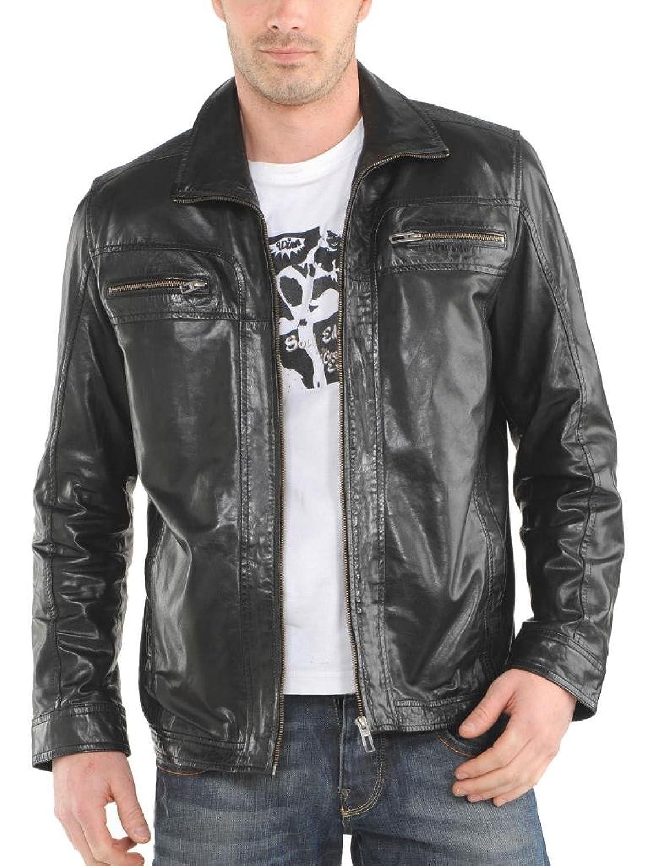 Men Leather Jacket Biker Motorcycle Coat Slim Fit Outwear Jackets AUK048