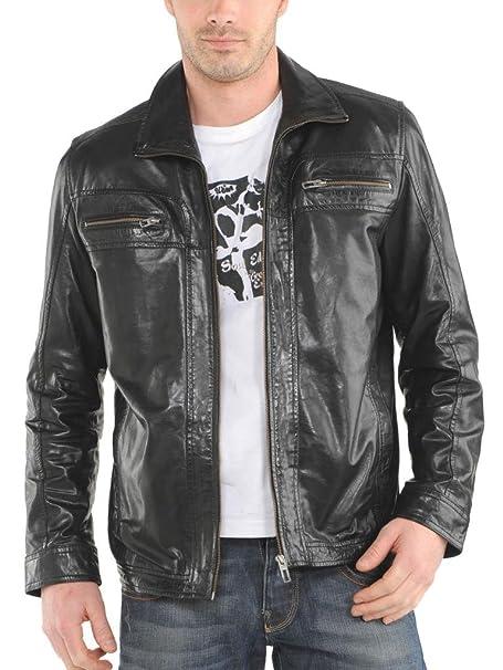Leather4u KL748 Cazadora de Piel para Hombre, Piel de Cordero, Negro: Amazon.es: Ropa y accesorios