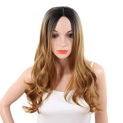 LuckyJIAO Pelucas Moda Femenina Natural Marrón Oscuro Teñido Gradiente Largo Pelo Rizado Transpirable Realista Fibra Fibra
