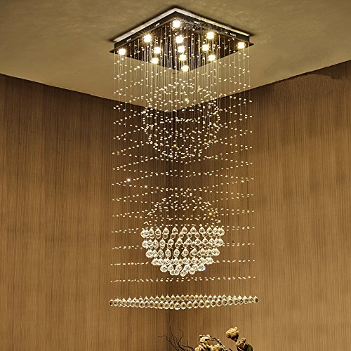 Saint Mossi Modern K9 Crystal Raindrop Chandelier Lighting Flush mount LED Ceiling Light Fixture Pendant Lamp for Dining Room Bathroom Bedroom Livingroom 11 GU10 Bulb Required Height 63 x Width 24 Bohemian Crystal 10 Light