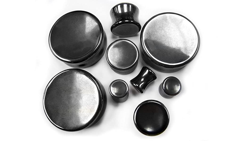 Double Flare Urban Body Jewelry 1 Pair of 1 Inch 25mm Concave Hematite Stone Plugs