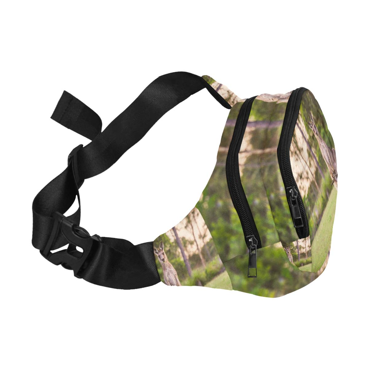 A Kangaroo Stand Up In Grasslands Fenny Packs Waist Bags Adjustable Belt Waterproof Nylon Travel Running Sport Vacation Party For Men Women Boys Girls Kids