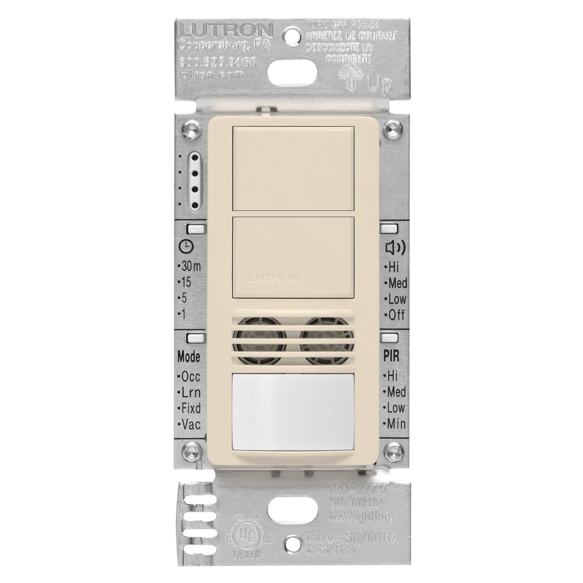 Lutron MS-A202-LA Maestro Dual Tech Dual Circuit Occupancy Sensor Switch, no neutral required, 6 Amp Single-Pole, Light Almond