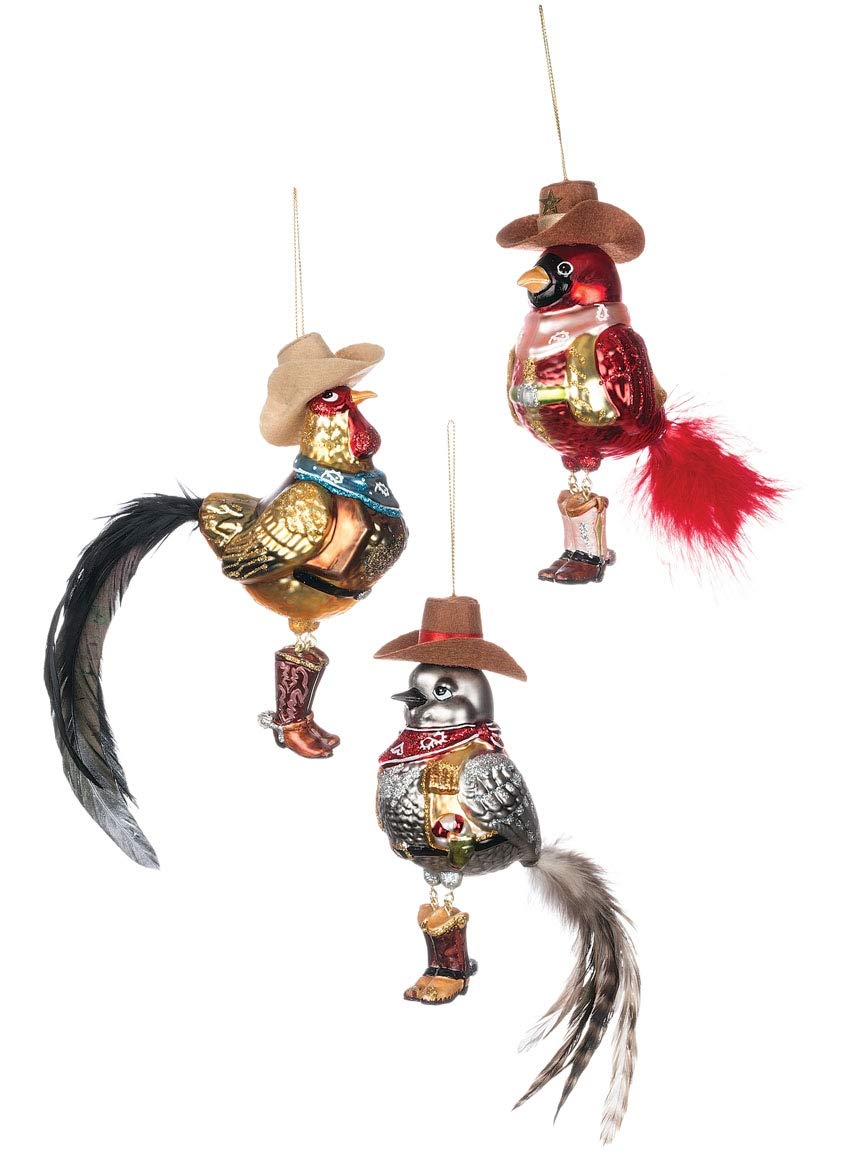 Sullivans Western Birds with Feathers Christmas Ornaments Set of 6 in 3 Styles 6 Each Brown