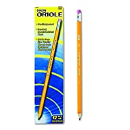 Dixon 12886 Oriole Woodcase Presharpened Pencil, HB #2, Yellow (Pack of 12)