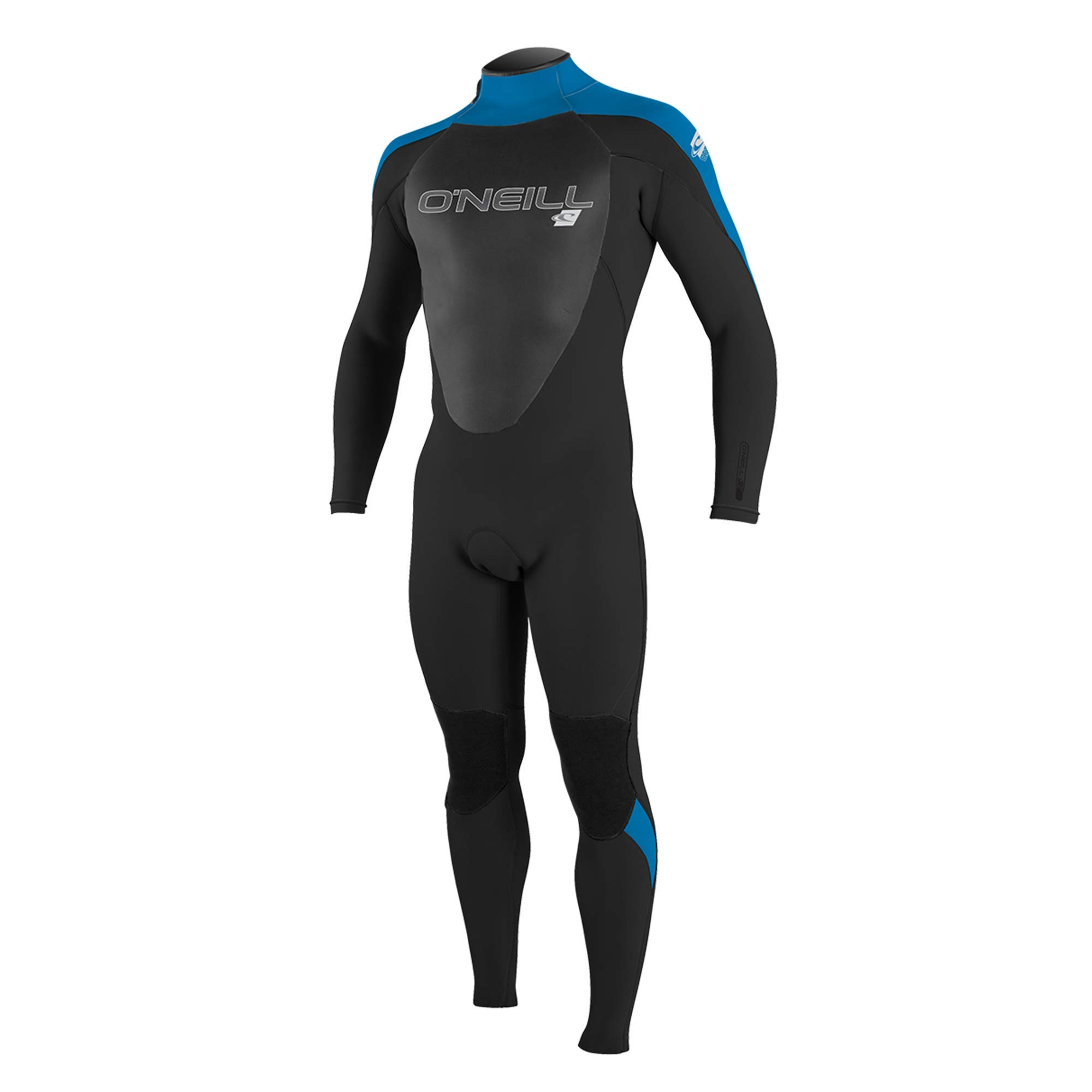 O'Neill  Men's Epic 4/3mm Back Zip Full Wetsuit, Black/BrightBlue,Medium