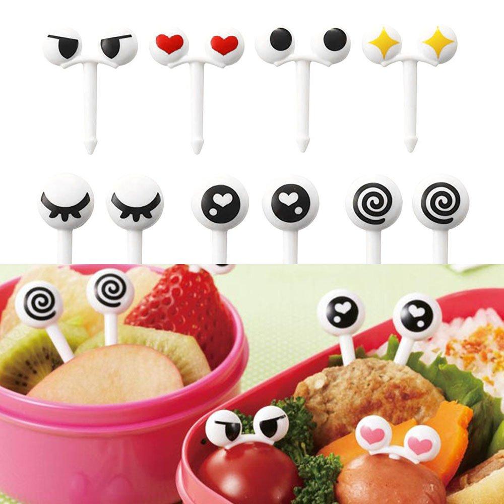 Mmrm 10pcs/set Reusable Cute Mini Eye Fruit Fork Tableware Kid Lunch Easy Decor