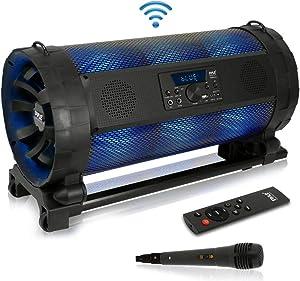 Portable Bluetooth Boombox Stereo System - 600 W Digital Outdoor Wireless Loud Speaker w/LED Lights, FM Radio, MP3 Player, USB, Wheels, w/Karaoke Microphone, Remote Control - Pyle PBMSPG198 (Renewed)
