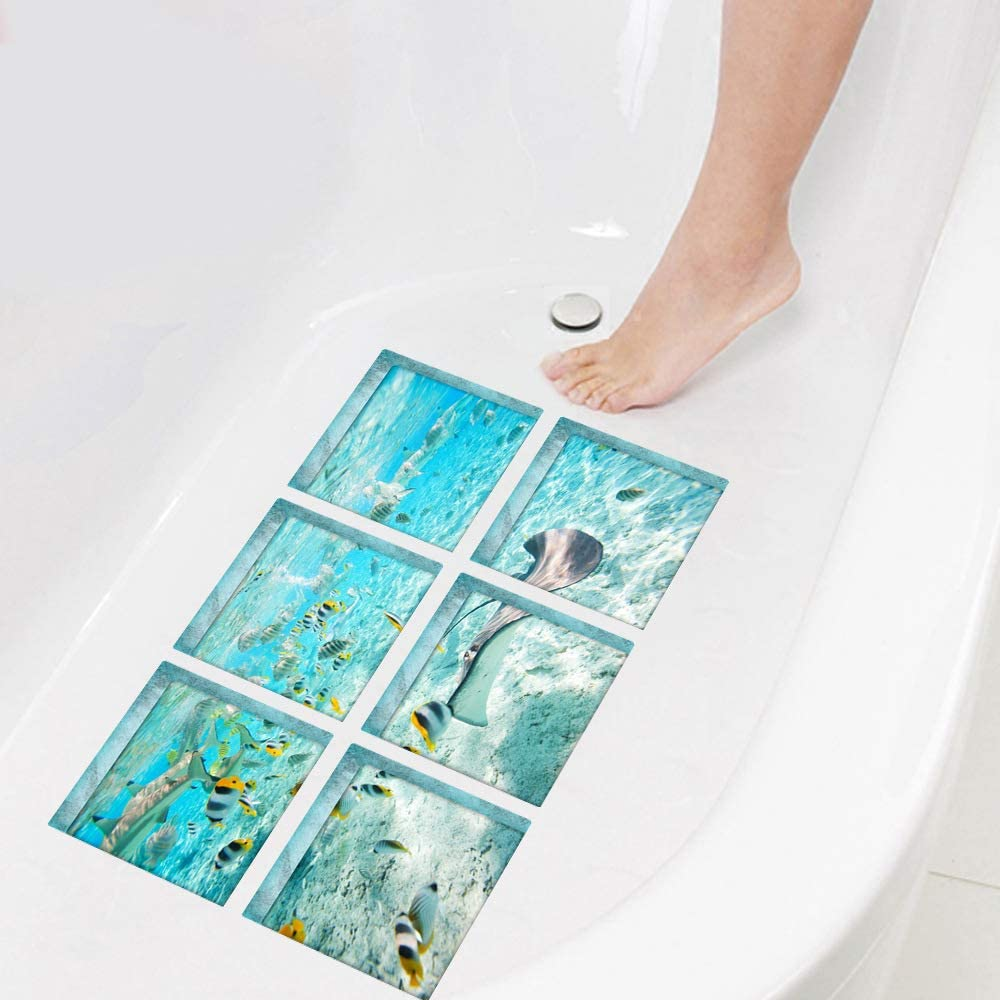 3D Beach ReFaXi 6PCS Bathtub Stickers Safety Non Slip Tub Tattoos Decal Treads Anti-Skid Shower