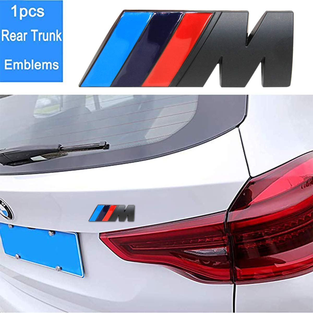 black wesport 3pcs BMW M Power Badge Tri Color Rear Emblem Fender Side Emblem Car Decal Logo Sticker for All BMW Accessories