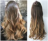 20 Inches Full Head Ombre Dip Dyed Loose Curls Wavy Curly Clip-in Hair Extensions 6pcs Pack (Col. Dark brown to Dark blonde) DL