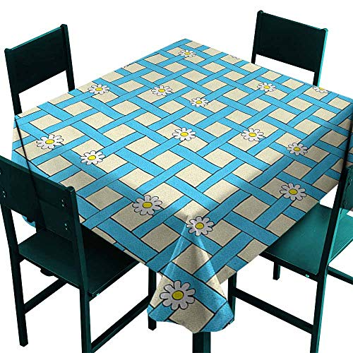 Warm Family Yellow and Blue Waterproof Tablecloth Cartoon Style Grid Design with Blue Labyrinth Lines and Daisies Great for Buffet Table W63 x L63 Pale Yellow White Blue]()