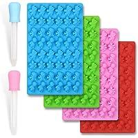 homEdge Mini moldes de silicona para dulces de dinosaurio, juego de 4 paquetes de bono de pegamento de chocolate…