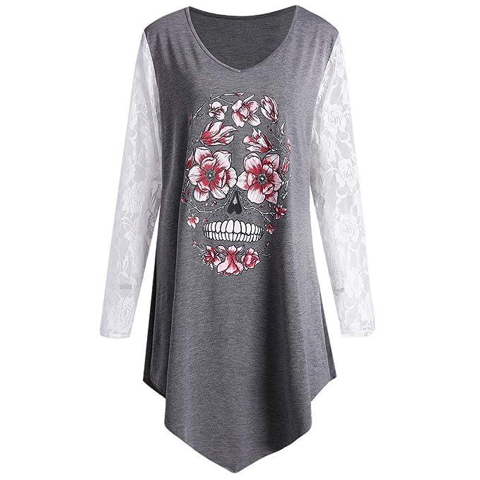 Camisetas Mujer Manga Larga, navideños Skull Impreso Blusas para Mujer con Encaje Camisetas Mujer Tallas Grandes Camisetas Mujer Originales QINGXIA_ZI: ...