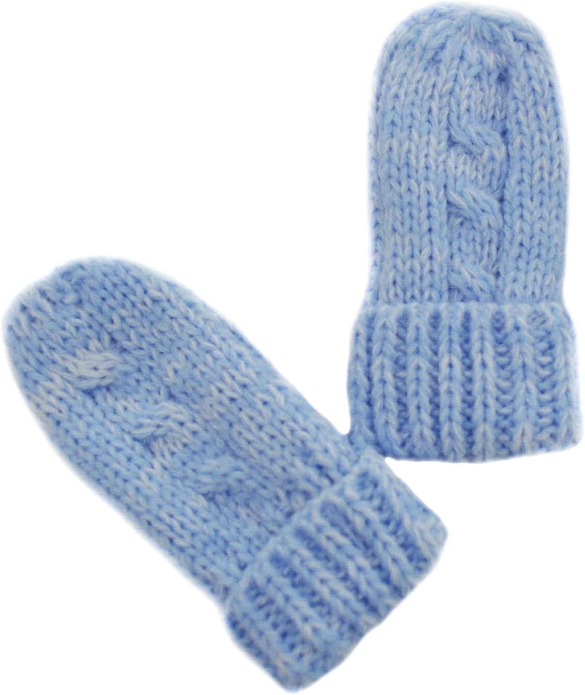 Baby Girls Boys Warm Winter Chunky Knit Mittens Newborn to 12 Months Blue