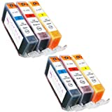 Sophia Global Compatible Ink Cartridge Replacement Set for Canon CLI-221 (Pack of 6: 2 CLI-221 Cyan, 2 Magenta, 2 Yellow)