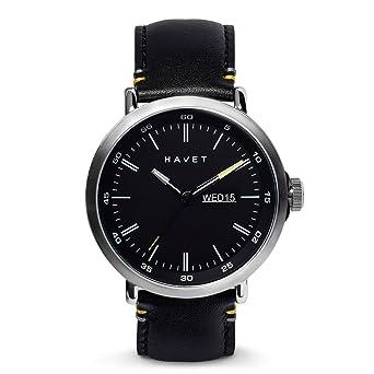 HAVET | Reloj de hombre Stabben de acero con esfera negra y correa piel negra: Amazon.es: Relojes