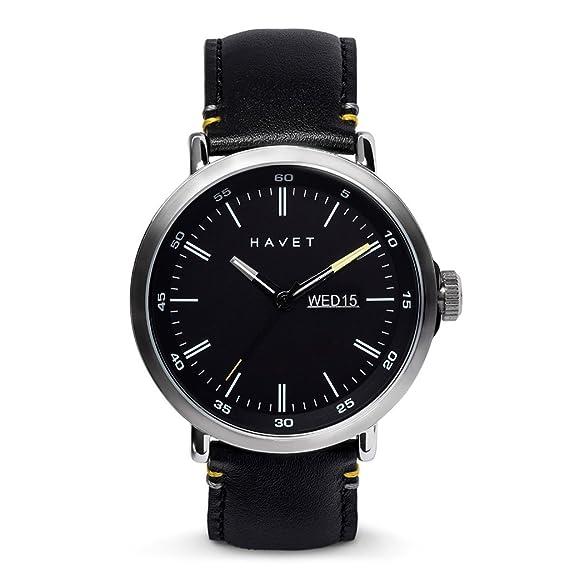HAVET | Reloj de hombre Stabben de acero con esfera negra y correa piel negra