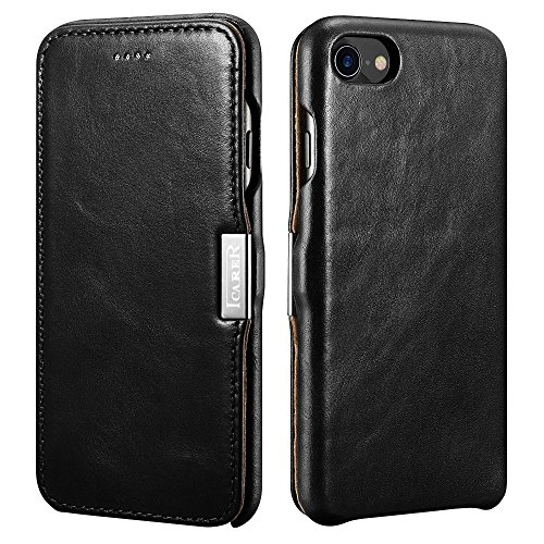 icarercase iPhone 8 Case iPhone 7 Leather Case, Genuine Vintage Leather Side Open Case in Slim Thin Design, Flip Folio Style Cover with Magnetic Closure for Apple iPhone 7/8 4.7 Inch (Black)