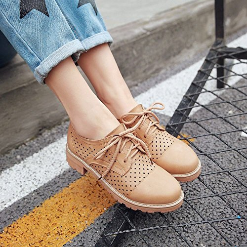 Mee Shoes Damen Niedrig mit Schnürung Oxford-Schuhe Gelbbraun