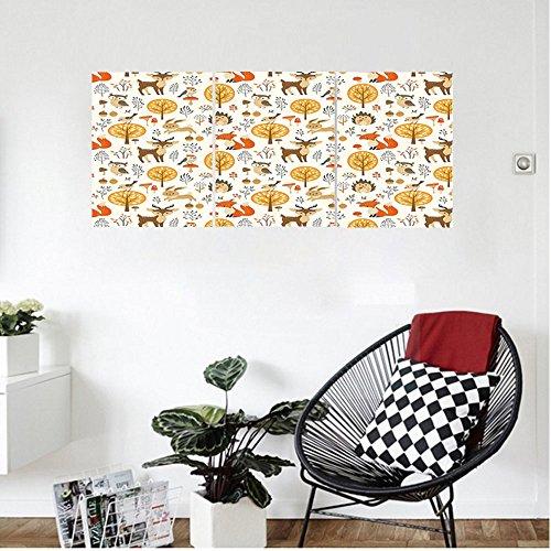 Liguo88 Custom canvas Cartoon Kids Nursery Rooms Decoration Baby Owls Deers Birds Rabbits Flower Image Wall Hanging for Bedroom Living Room Marigold Cream Orange