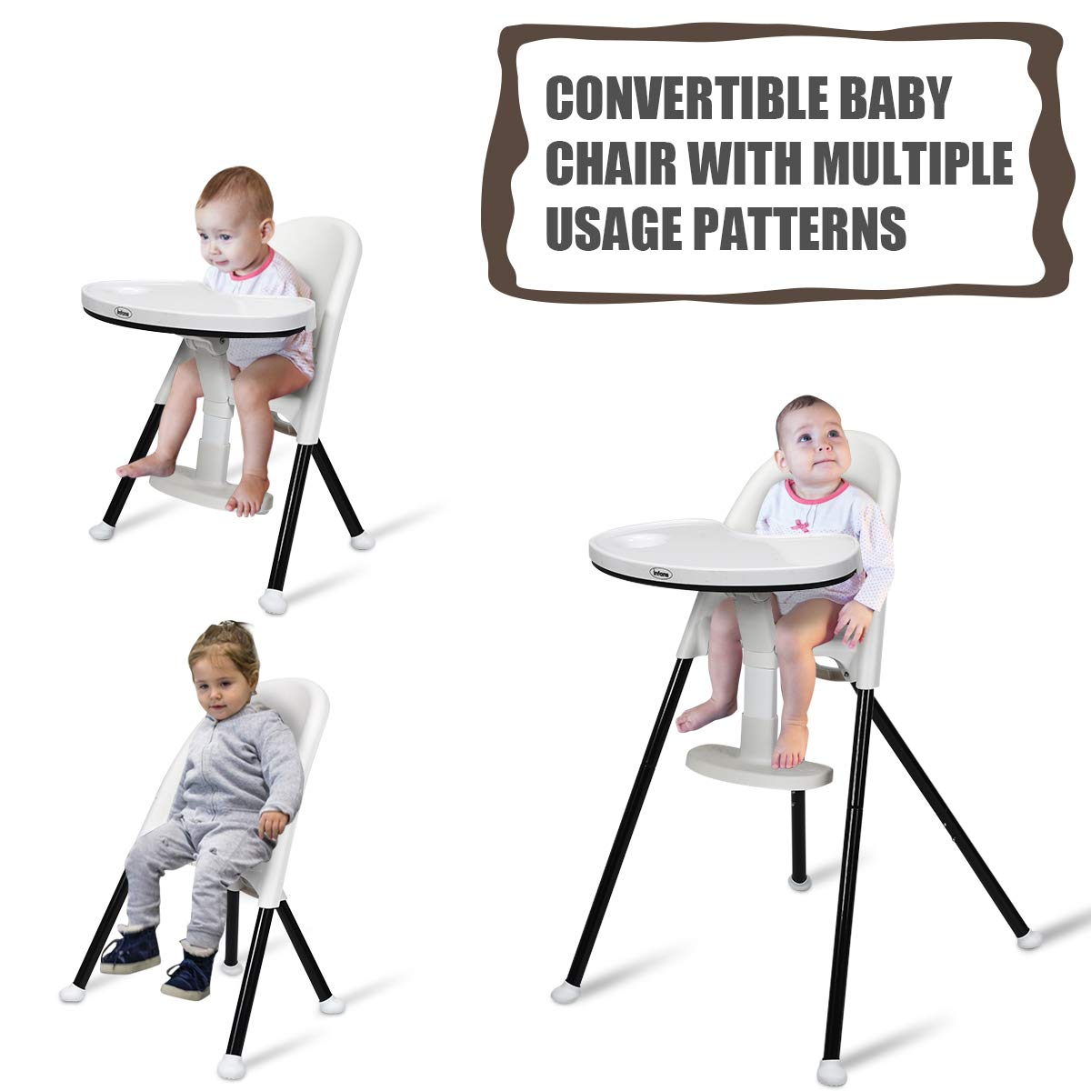 INFANS High Chair Folding 3-Point Harness Non-Slip Feet 6 Months /& up 3 in 1 Convertible Highchair with Detachable Double Tray Grey Adjustable Legs for Baby /& Toddler Adjustable Footrest